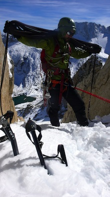 Coiling the rope after a successful climb of the North Peak Couloir.