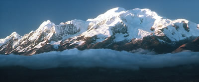 Ancohuma (21,095 ft) rises dramatically above the altiplano.